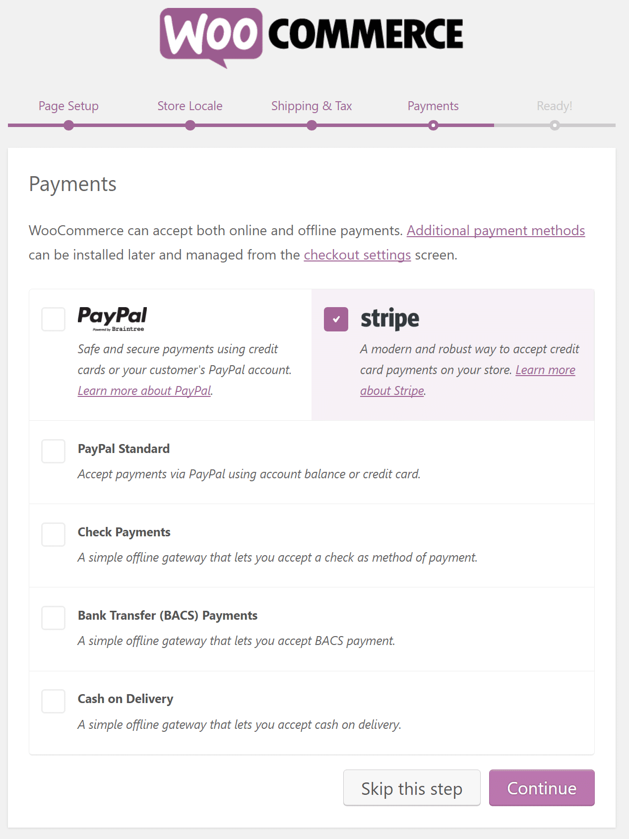 Pagamentos WooCommerce