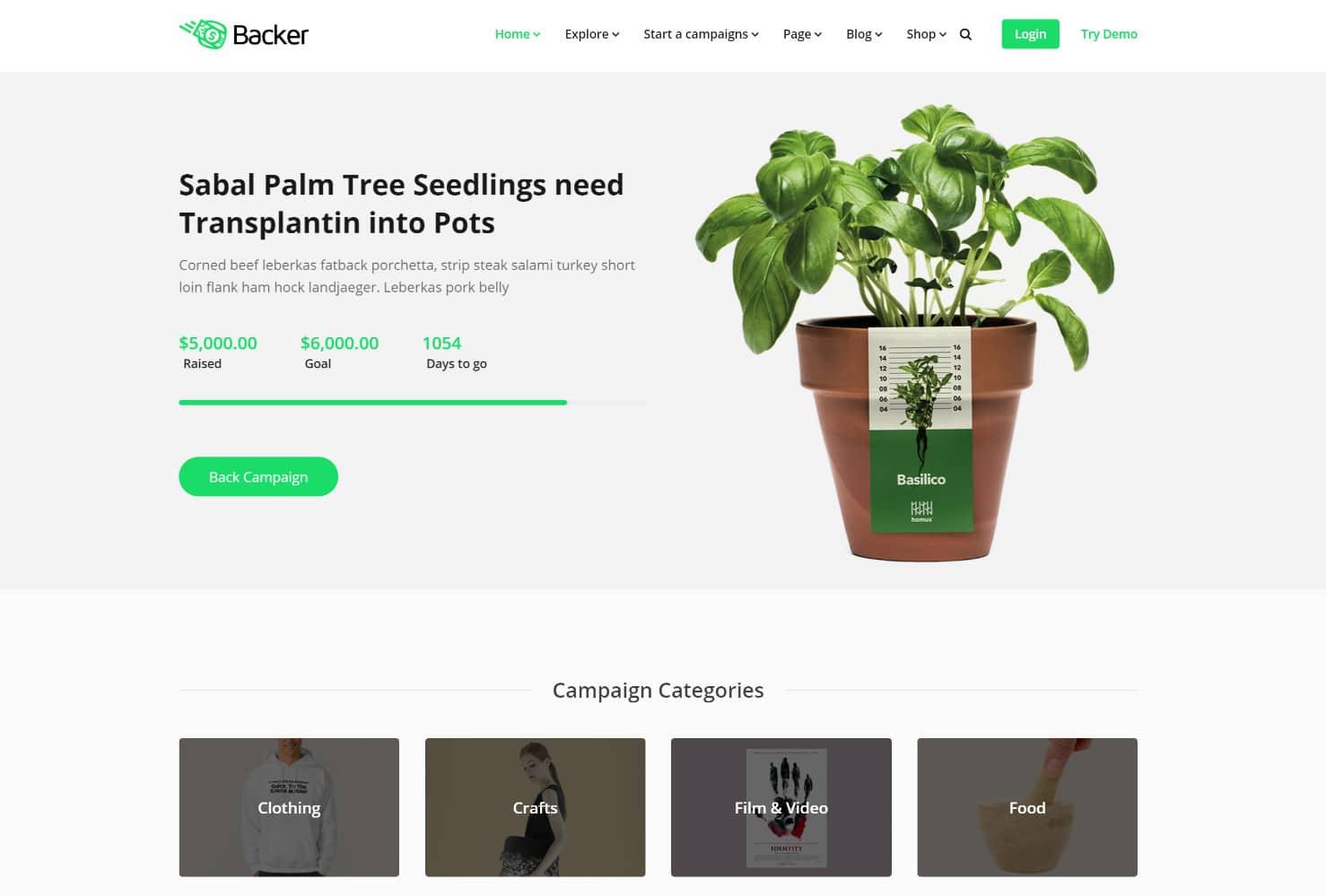 Tema WordPress de financiamento coletivo Backer