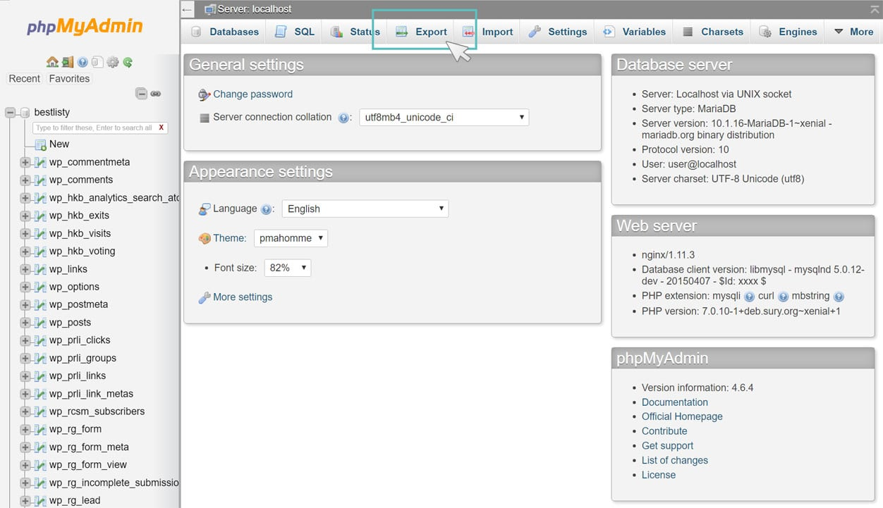 Exportar base de dados em phpMyAdmin