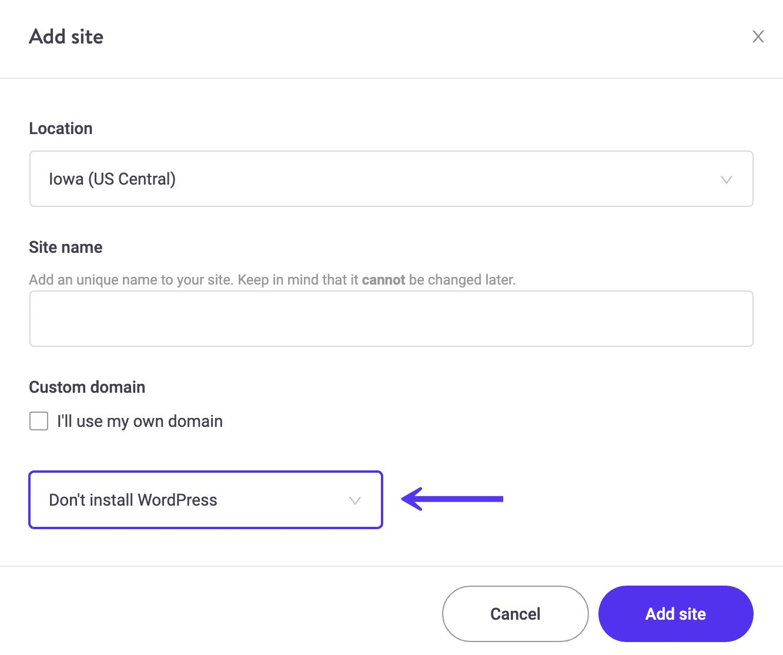 Nova instalação - Não instale o WordPress