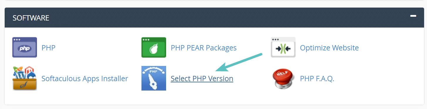 """Opção """"Selecionar versão de PHP"""" no cPanel"""