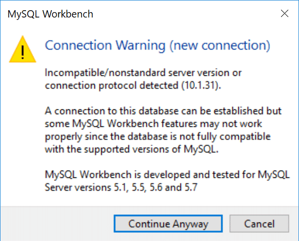 "Mensagem do MySQL Workbench de ""connection warning"""