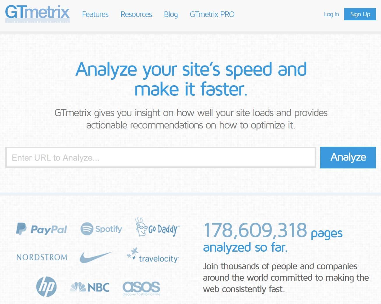 Ferramenta de teste de velocidade de websites GTmetrix