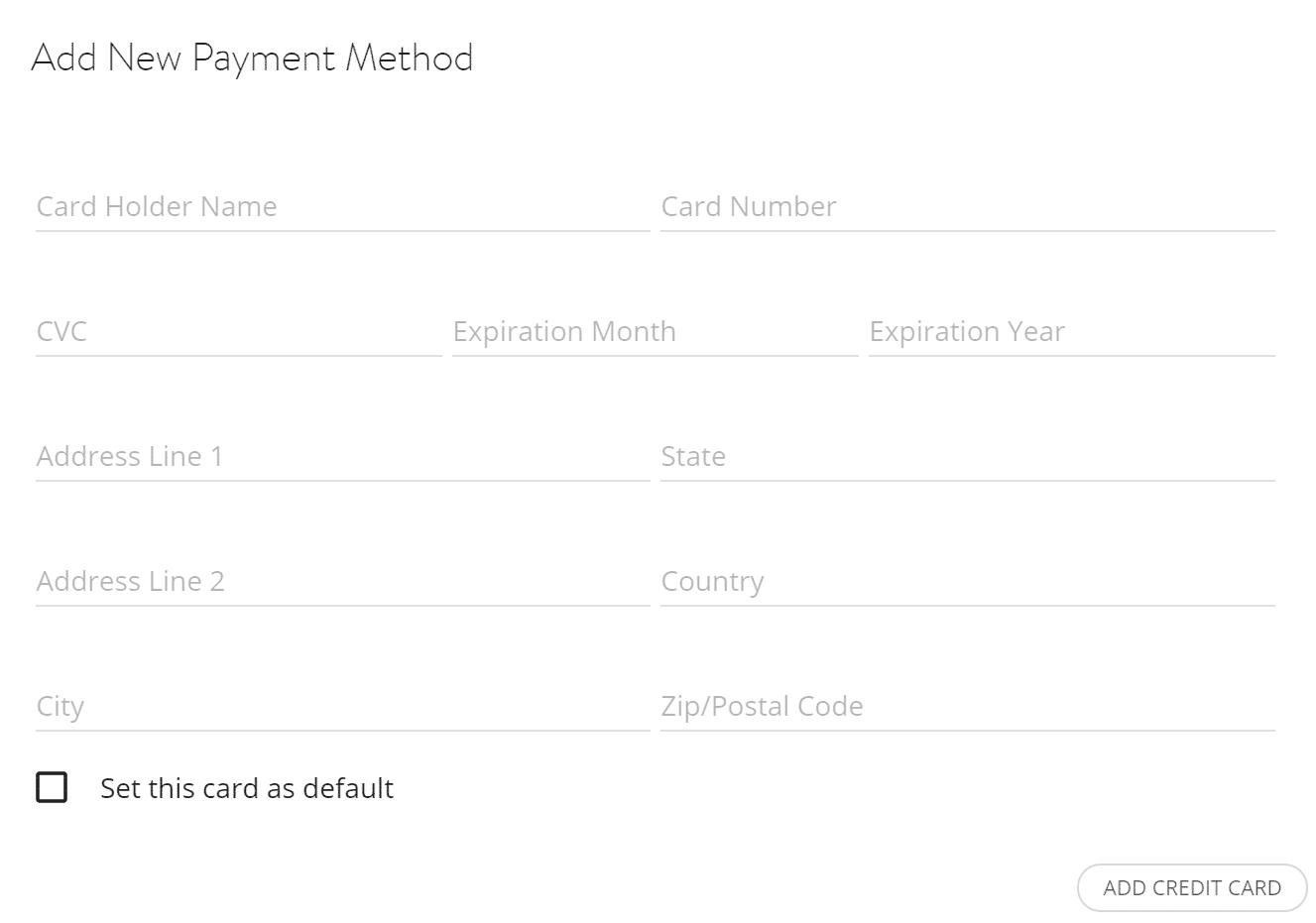 Formulário de pagamento com cartão de crédito