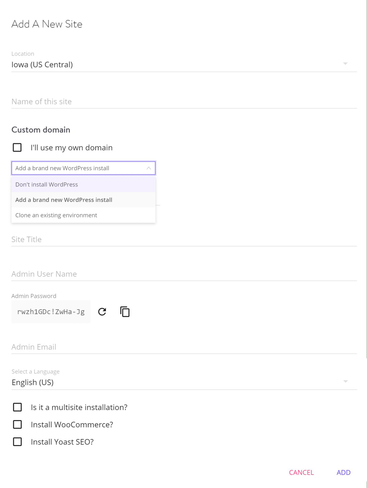 Instalação do WordPress de um só clique
