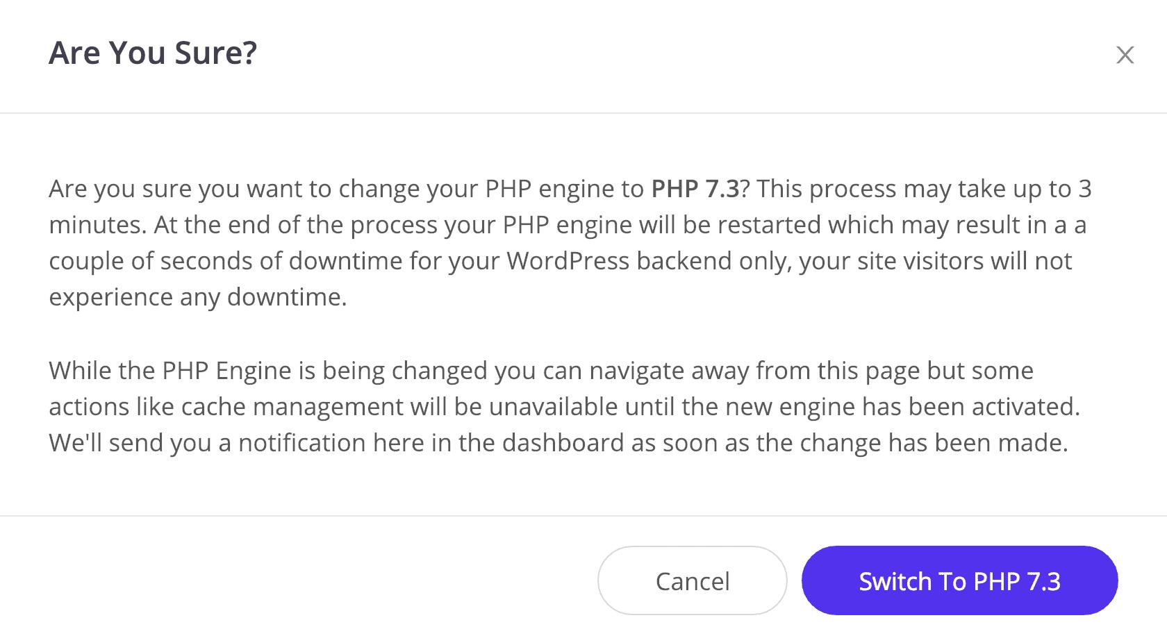 Alterar para o PHP 7.3