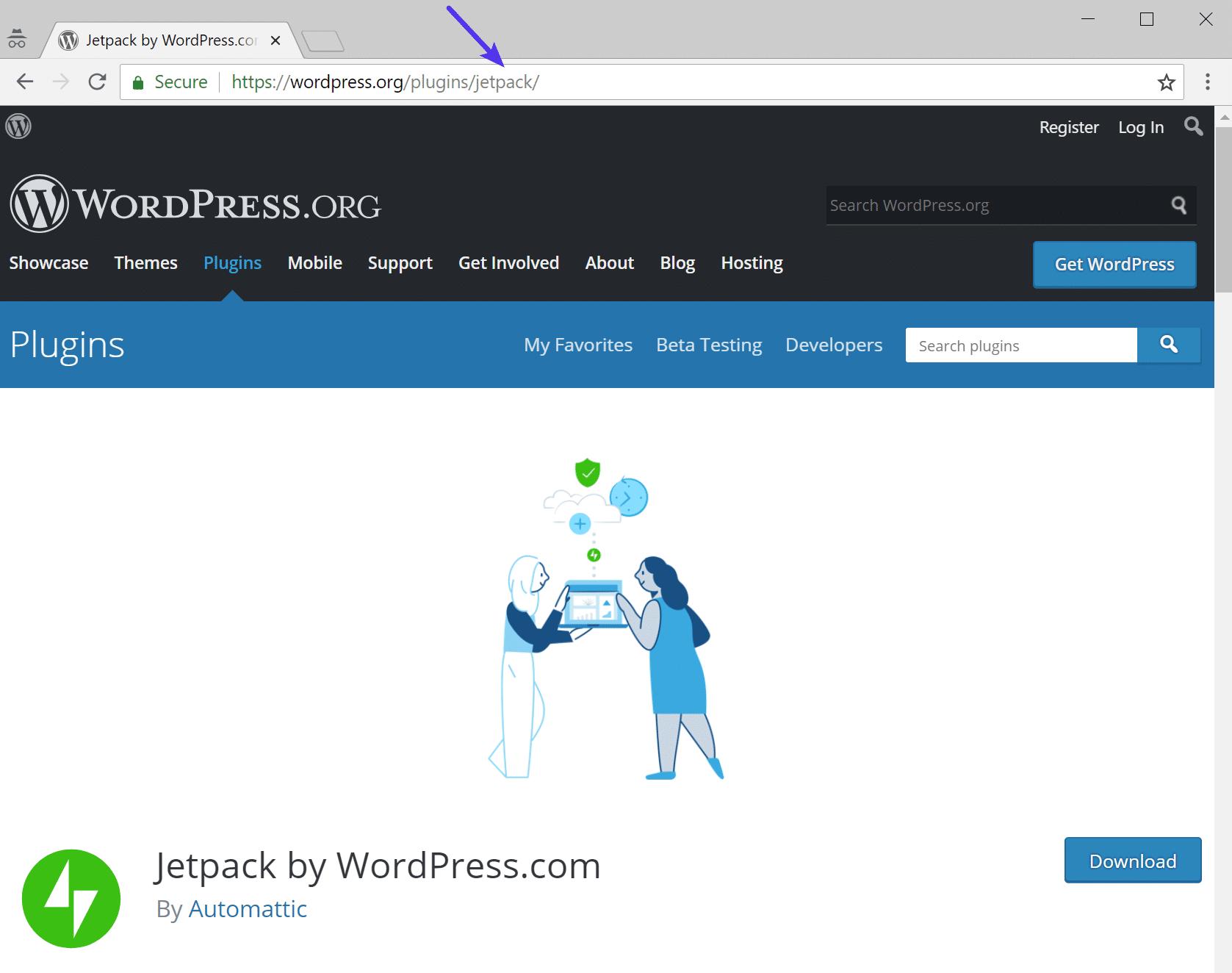 URL do repositório de plugins do WordPress