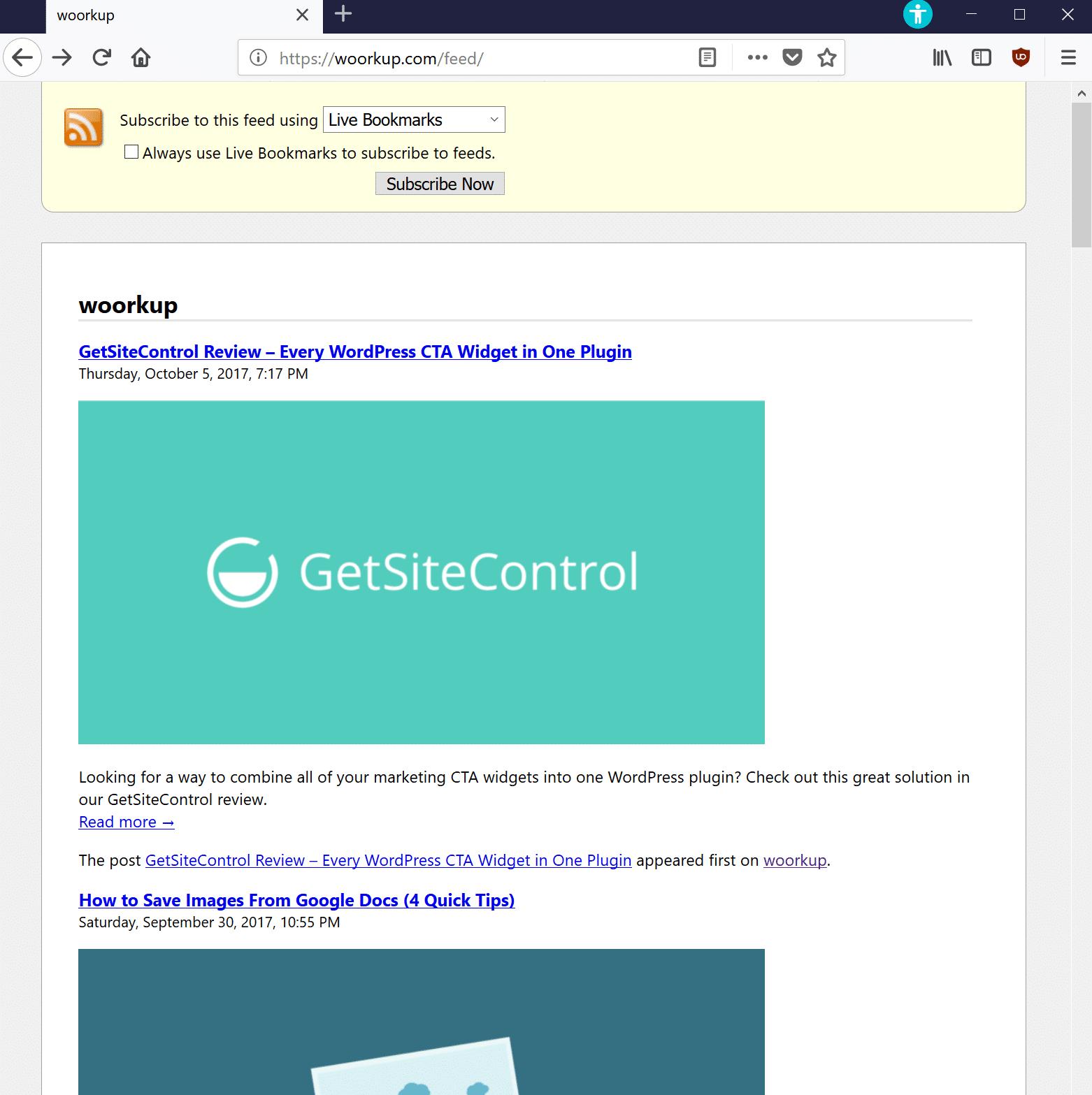 RSS feed com imagens