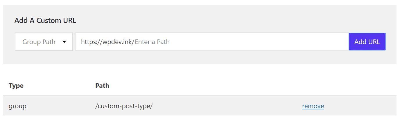 Cache – URL personalizado de caminho de grupo