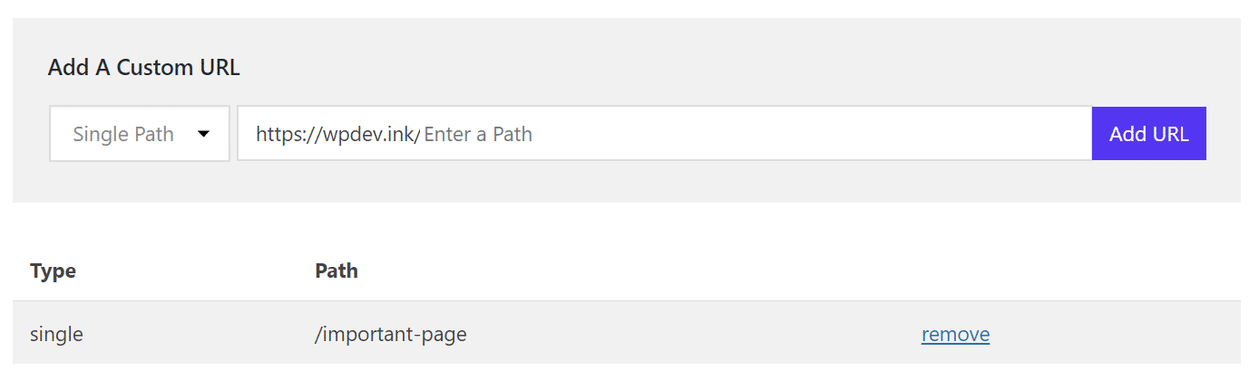 Cache - URL personalizado de caminho único