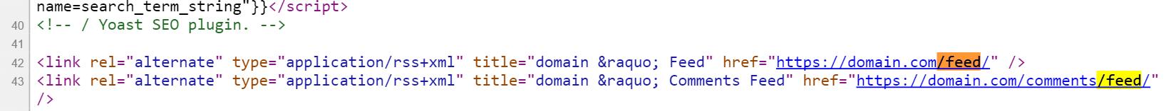RSS feed no cabeçalho