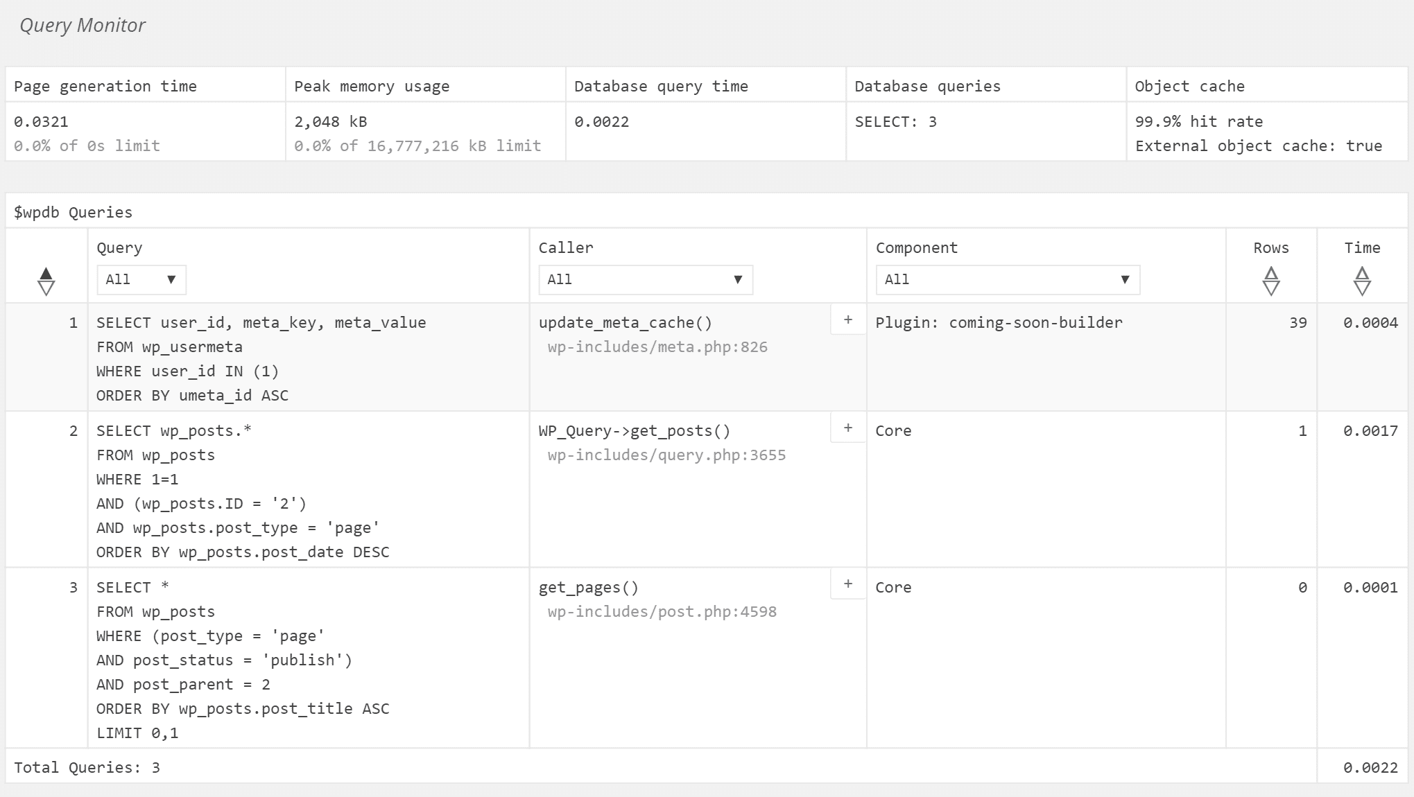 Consultas WordPress no plugin Query Monitor