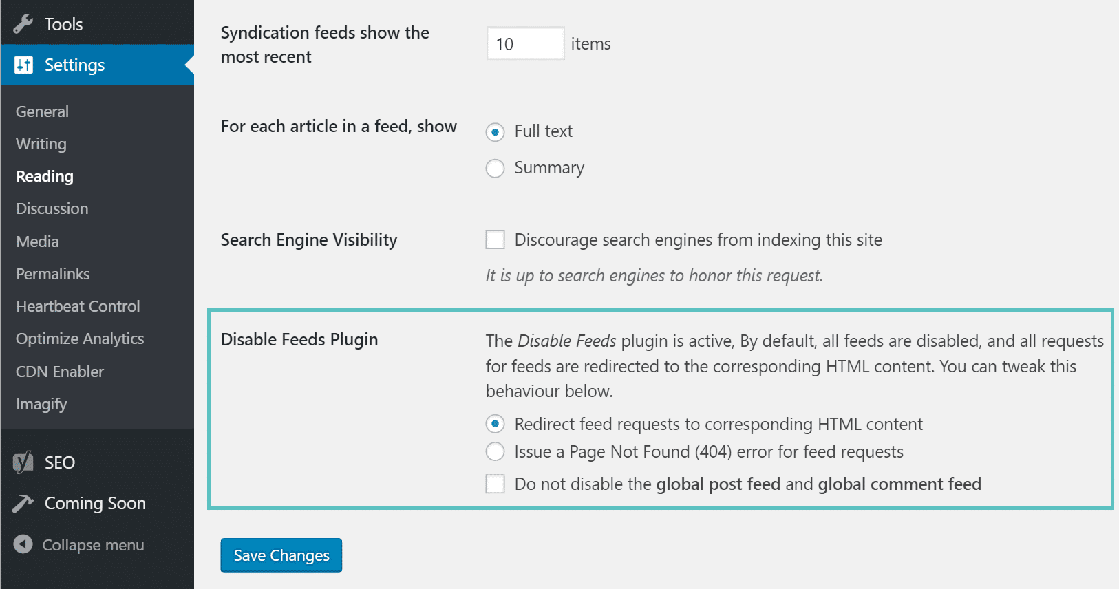 wordpress Desativar plugin de RSS feed