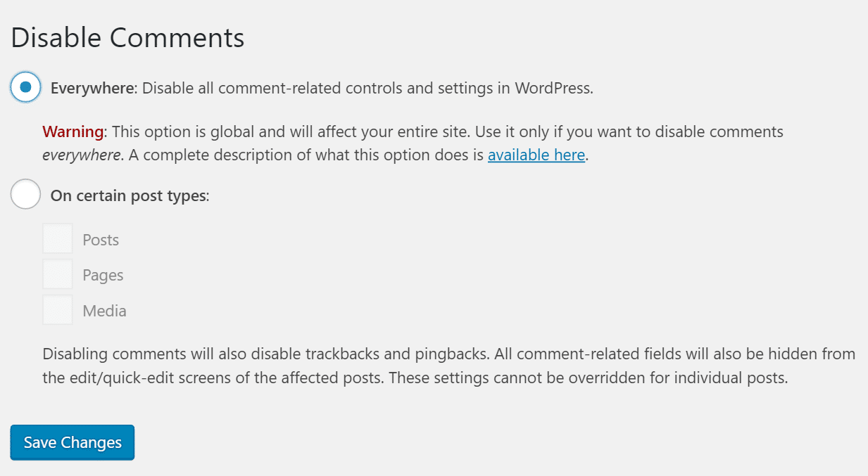 Plugin Disable Comments para WordPress
