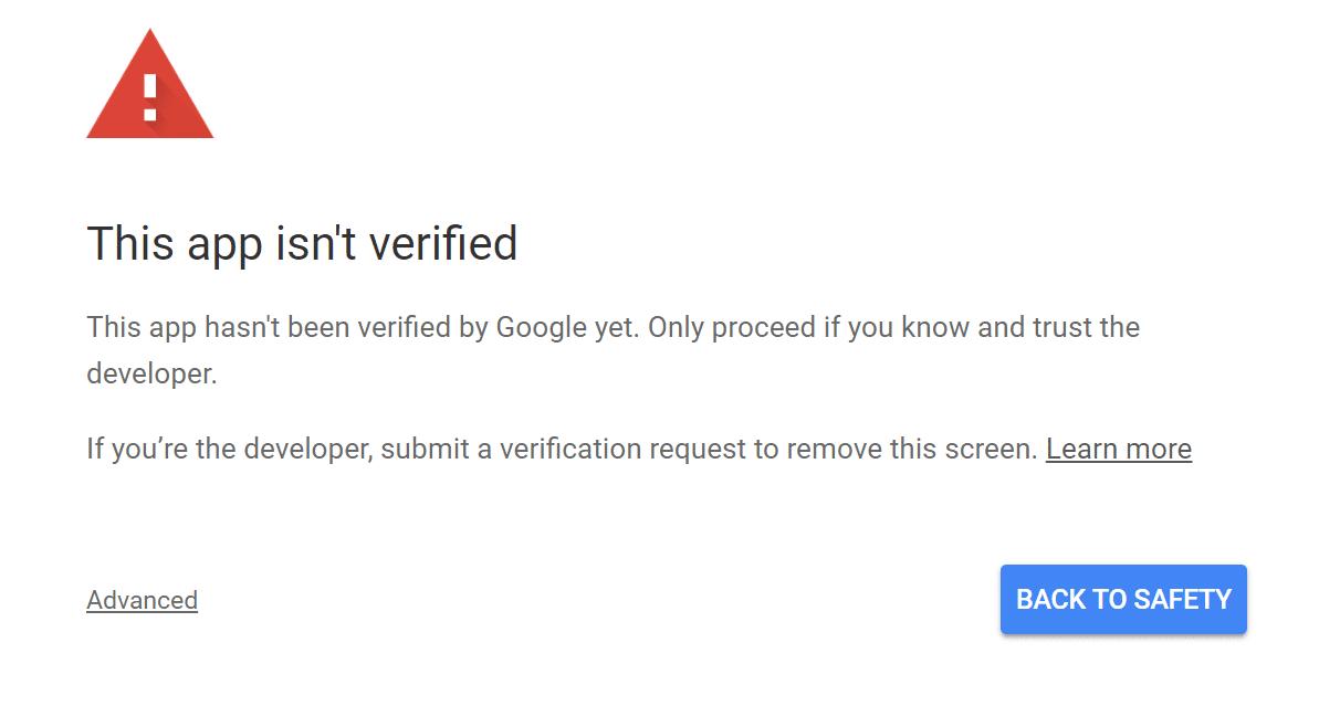 Este aplicativo não foi verificado