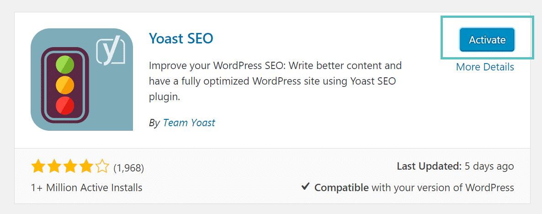 Ativar o plugin WordPress