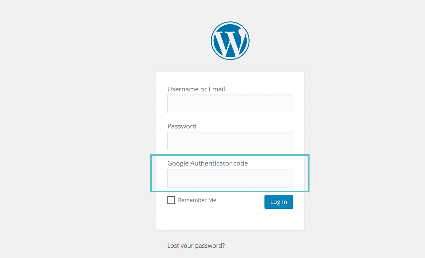 Login do Google Authenticator WordPress
