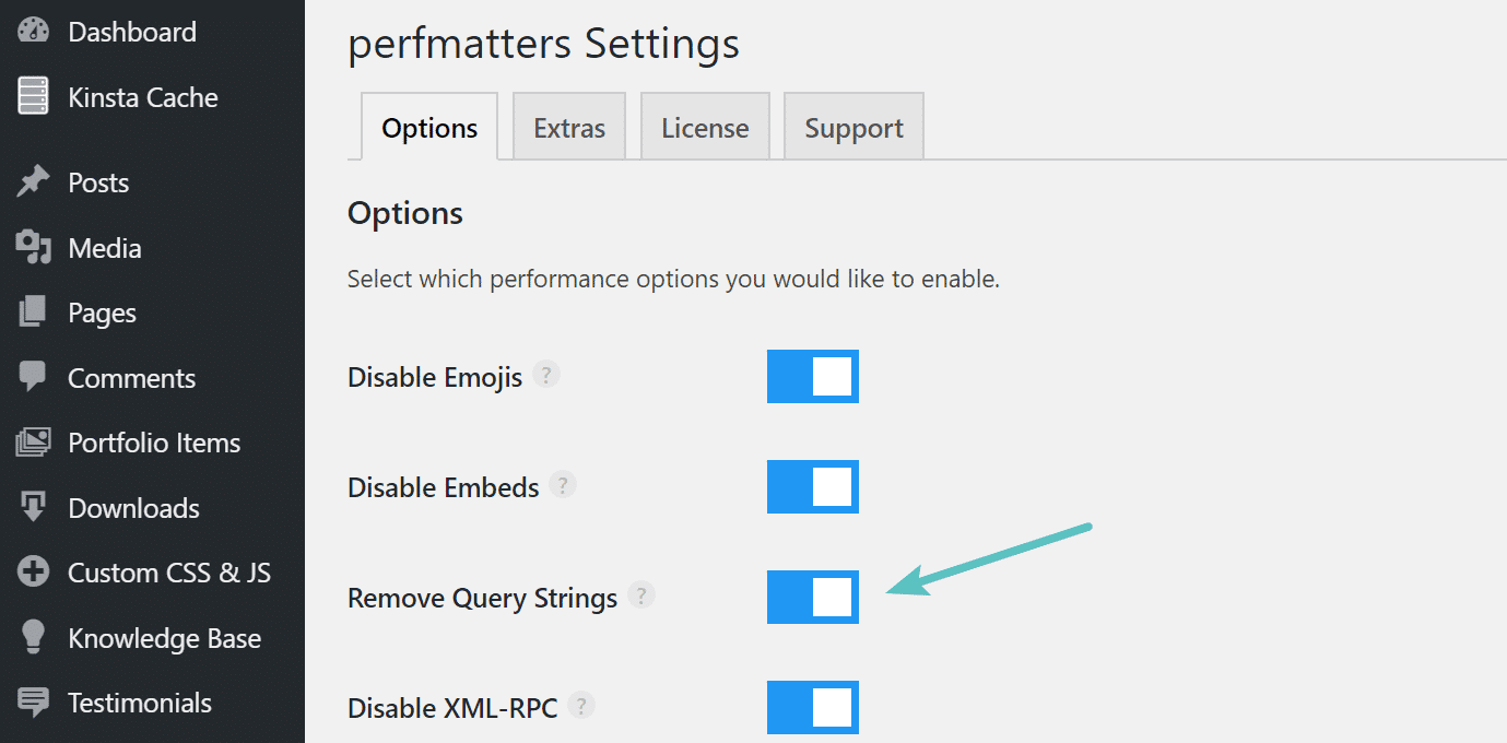 Remover query strings com o plugin perfmatters