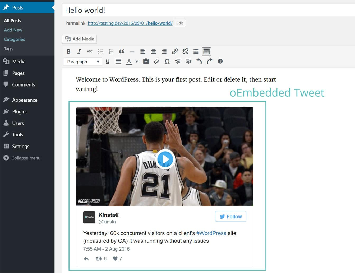Tweet embutido pelo oEmbed
