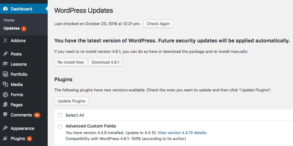 Atualizações automáticas do WordPress
