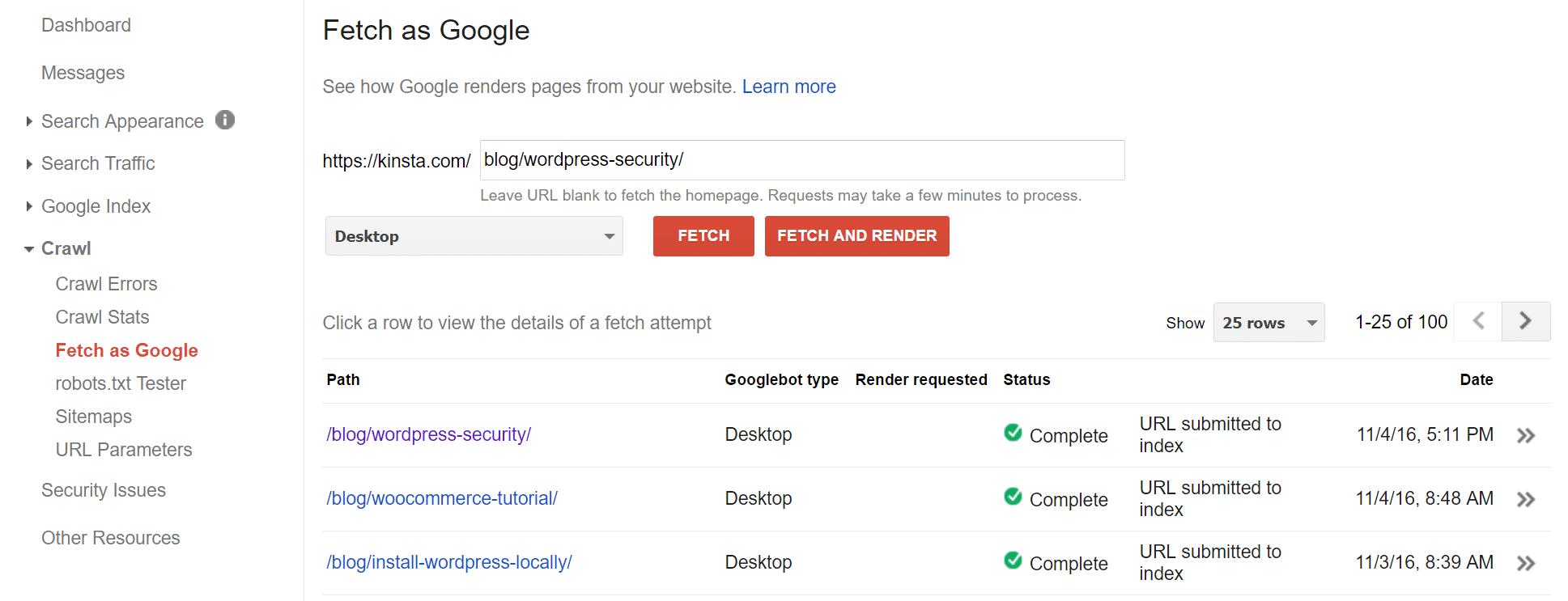 Varredura forçada no Google Search Console
