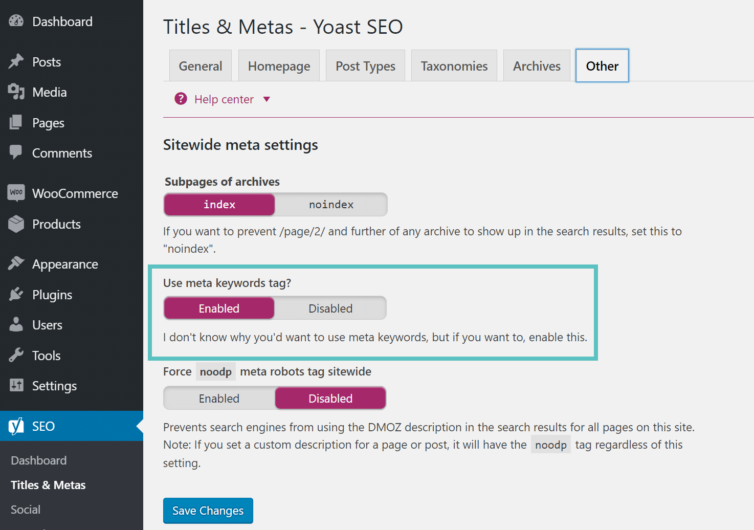 Habilite as meta keywords no Yoast SEO