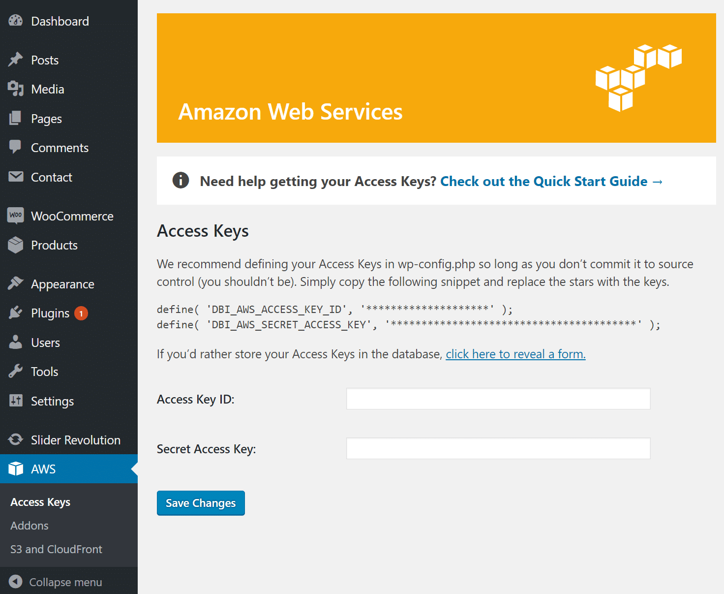 hookup amazon web services wordpress