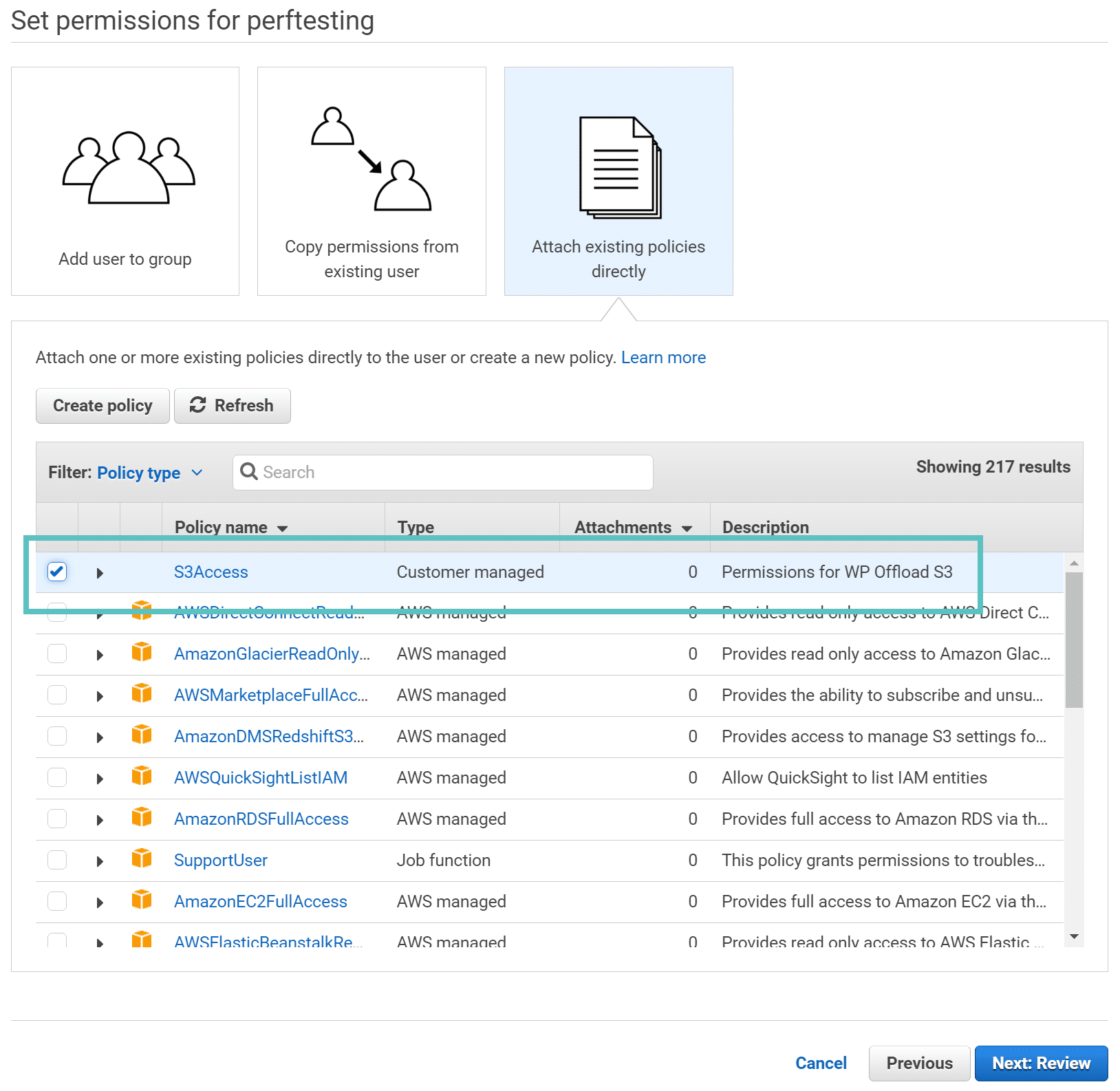 Permissões da AWS para usuários