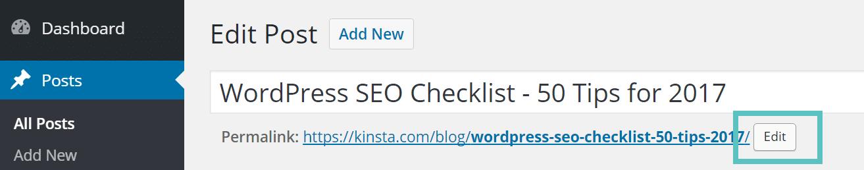 Edite a URL no WordPress