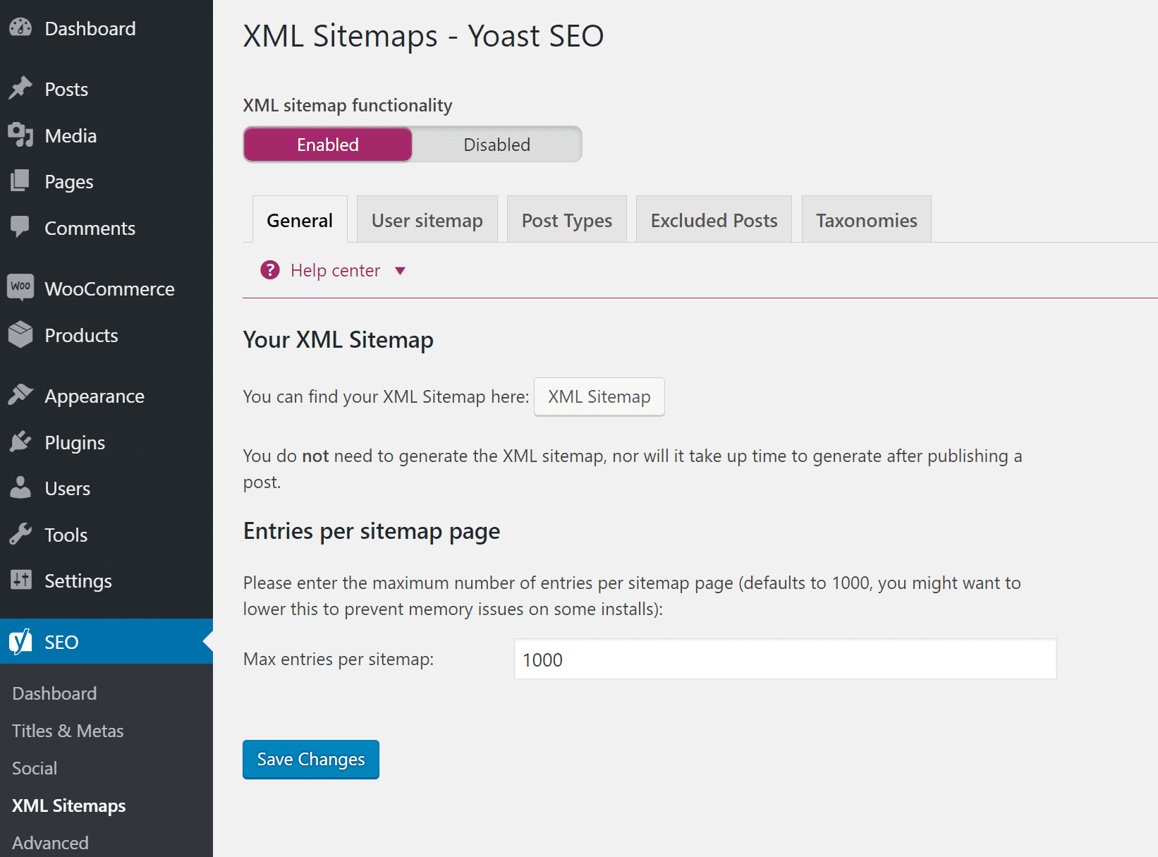Arquivo XML sitemap do WordPress