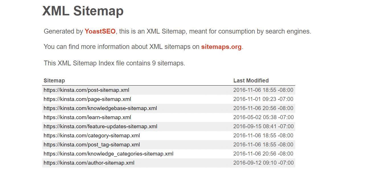 Arquivo XML sitemap