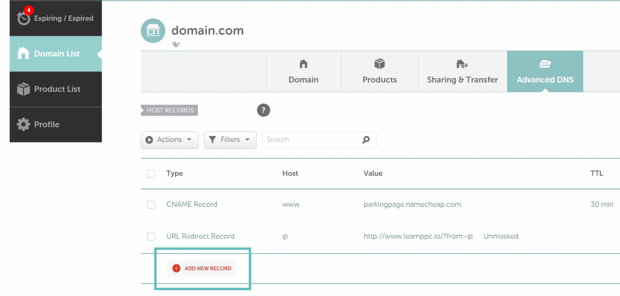 Adicionar novo registro DNS no Namecheap