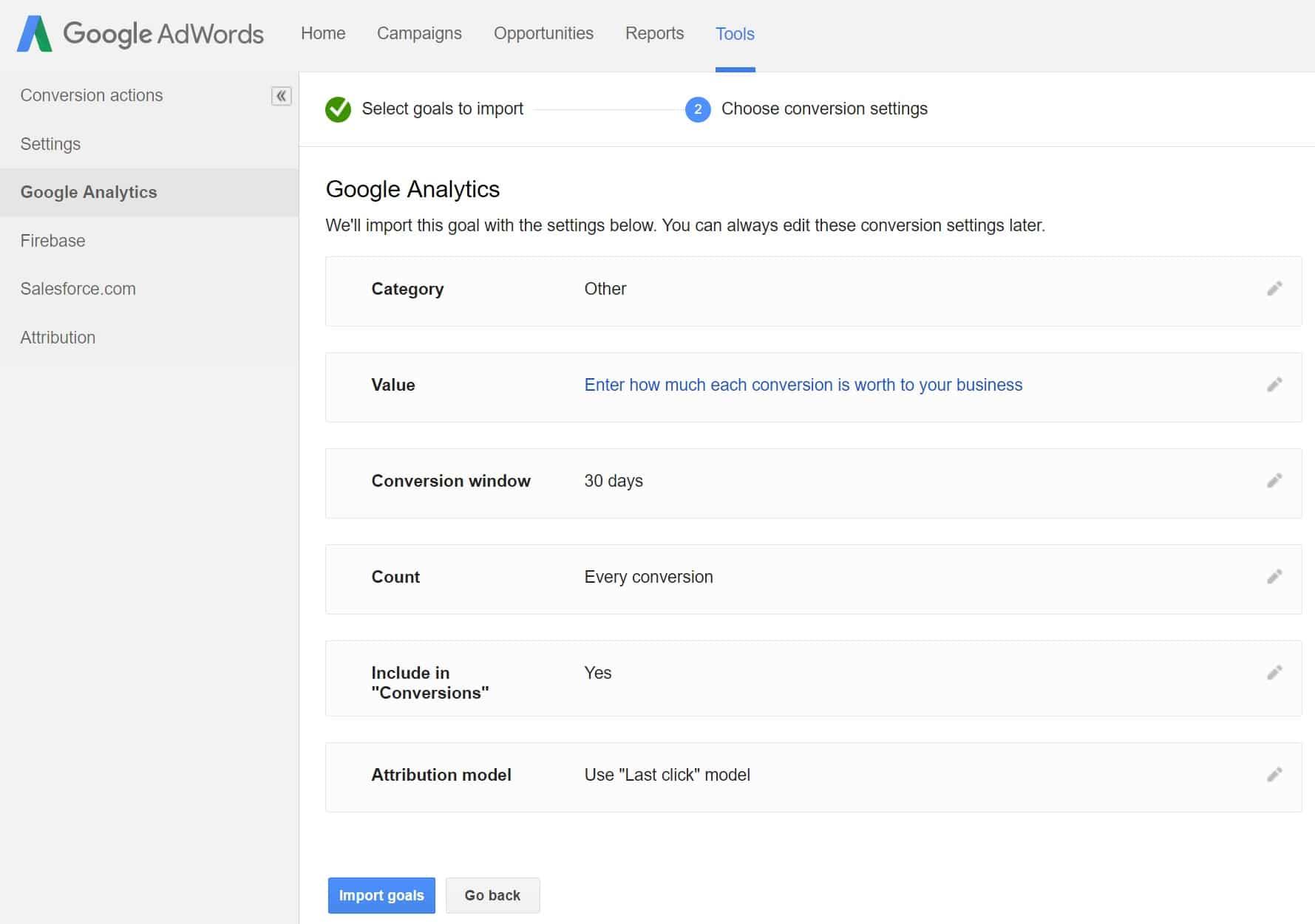 Configurações de conversão do Google AdWords