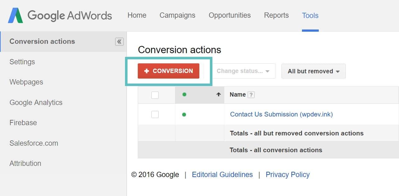 Criar uma conversão do Google AdWords
