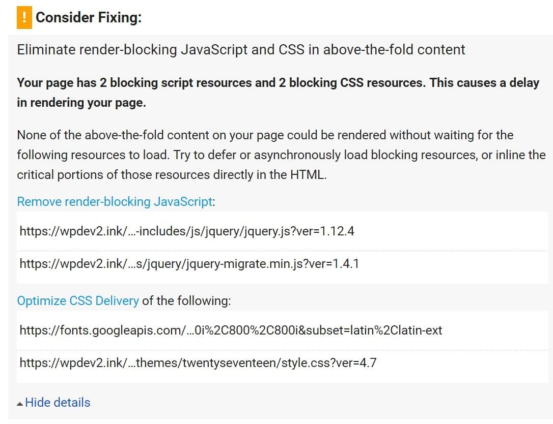 Elimine a advertência do bloqueio de renderização do Javascript e CSS