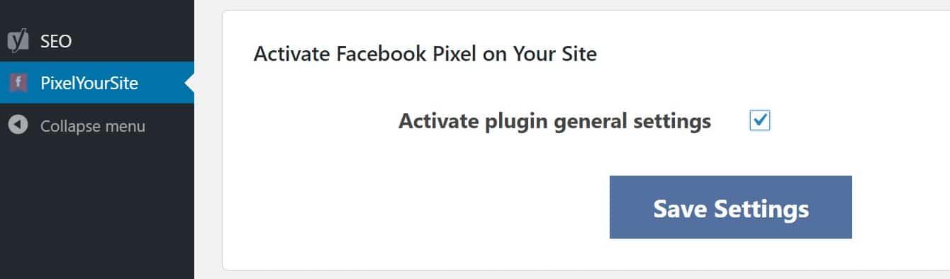 Ative as configurações do ID do Pixel