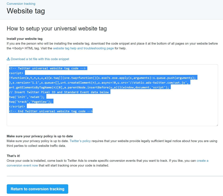 Etiqueta de pixel do Twitter