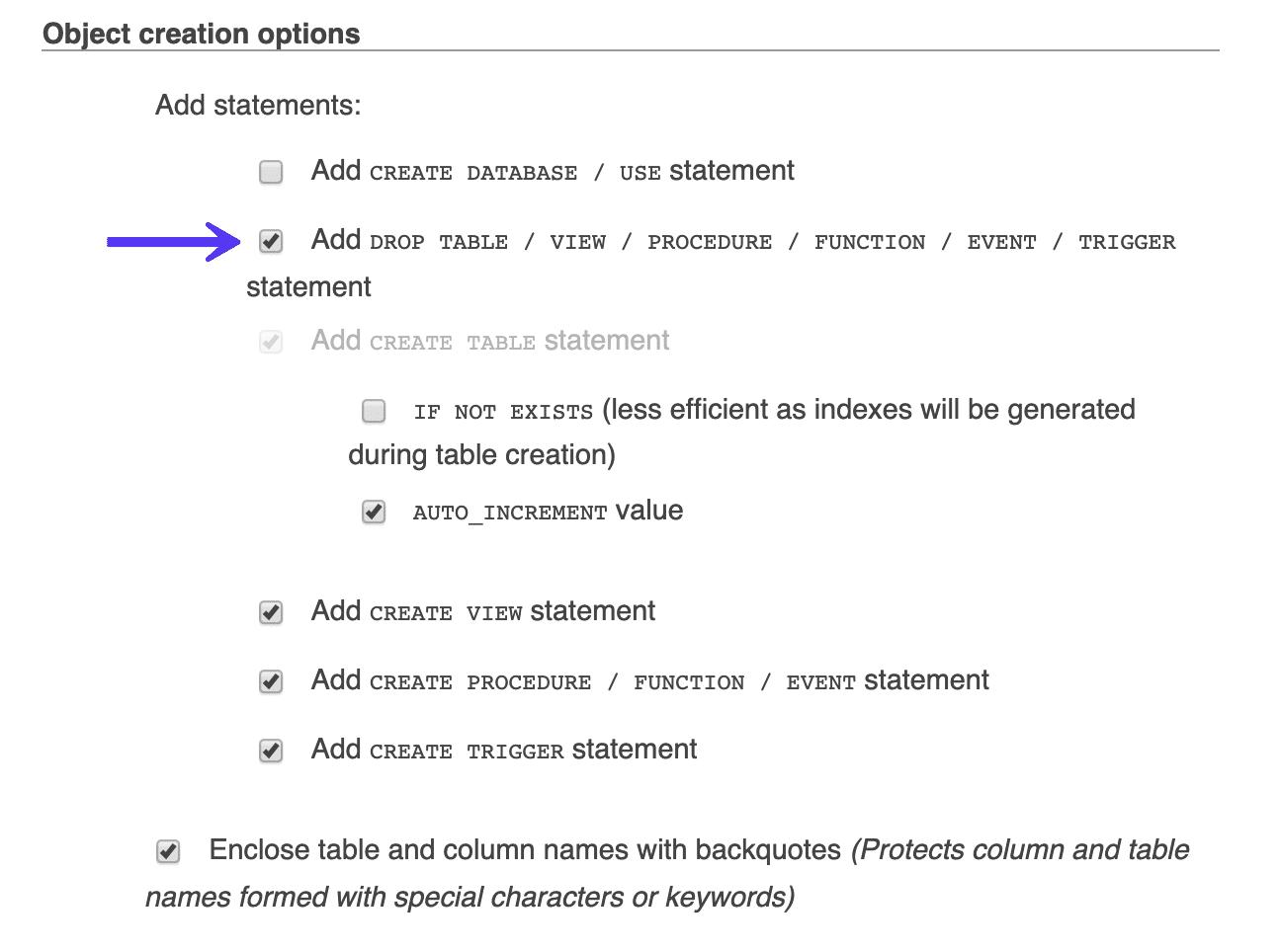 Adicionar drop table no phpmyadmin