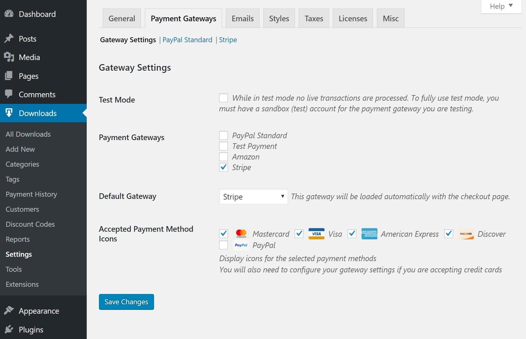 Configurações de gateway de pagamento EDD Stripe