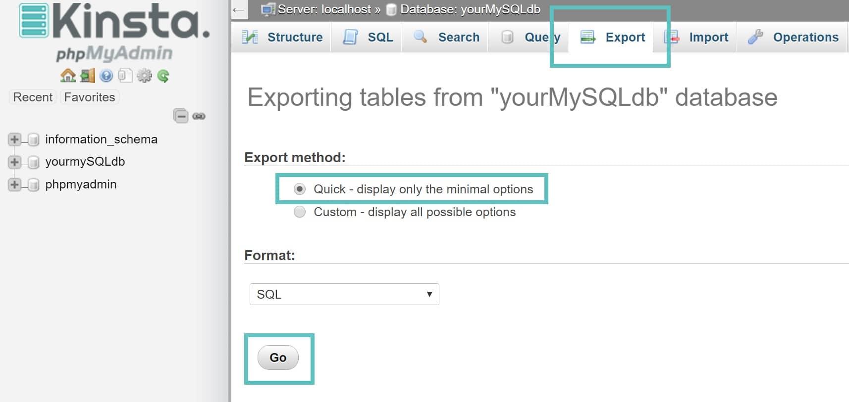 Exportar tabelas no phpmyadmin