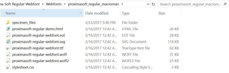 Arquivos de fontes locais