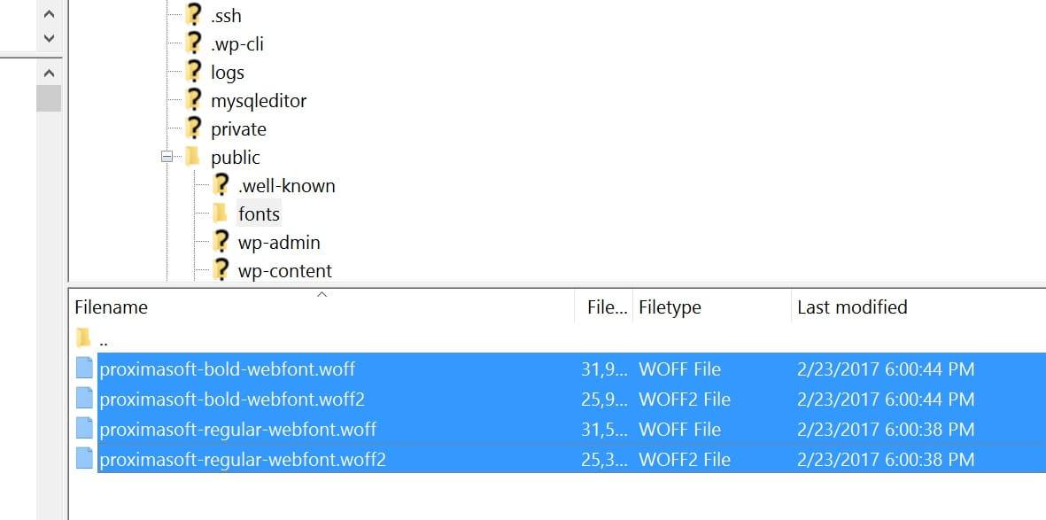 Carregar fontes no webserver