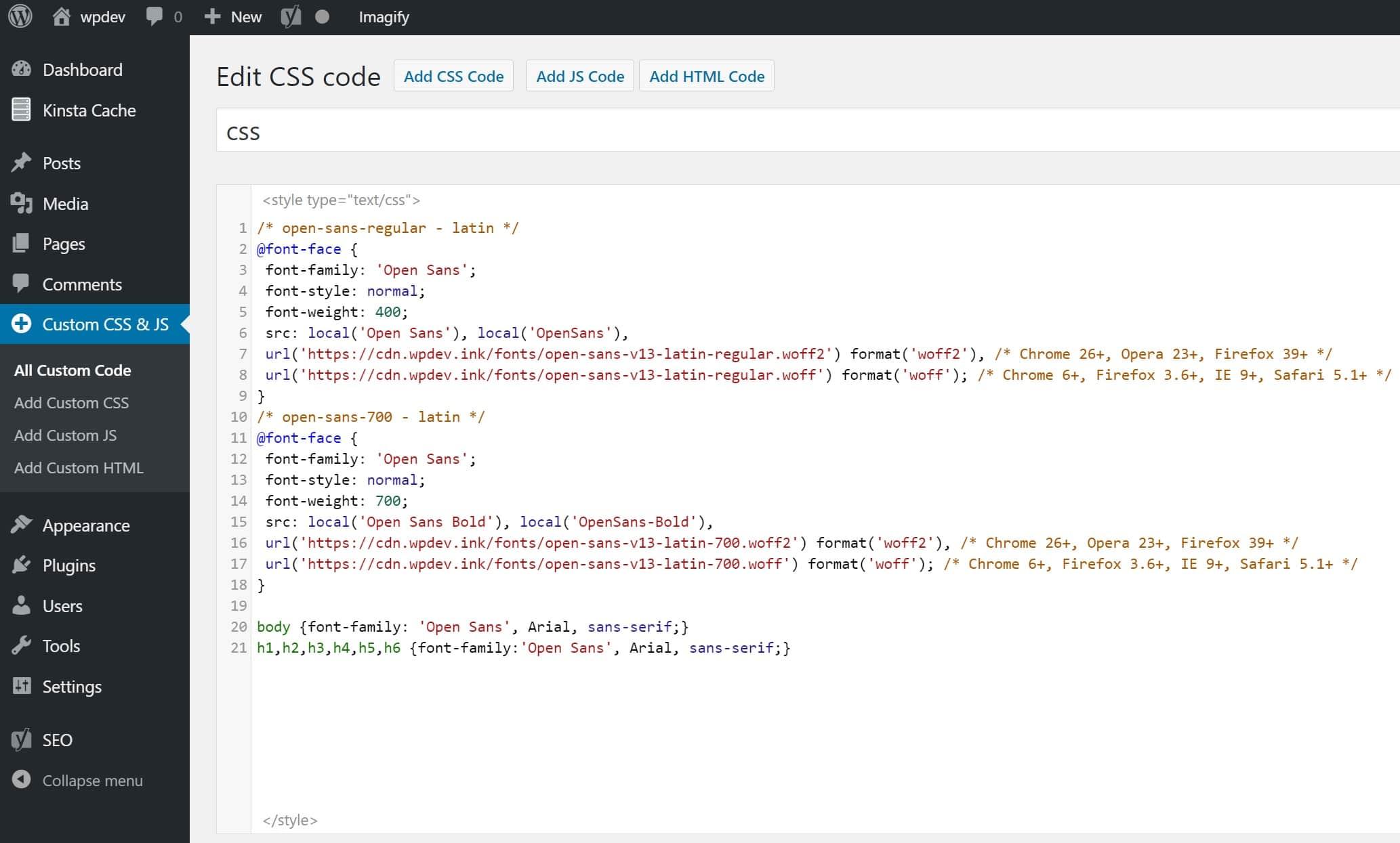 CSS para fonte Open Sans hospedada localmente