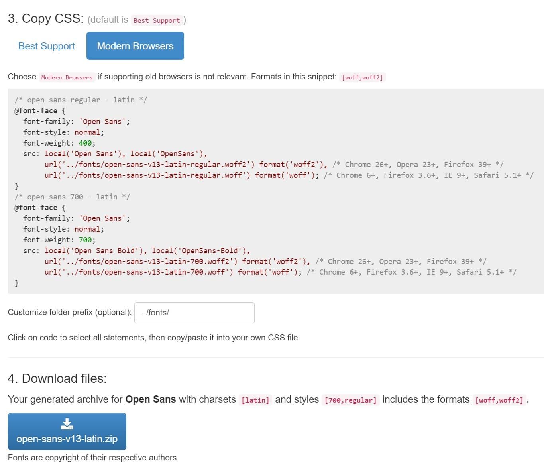 CSS para fontes em navegadores modernos