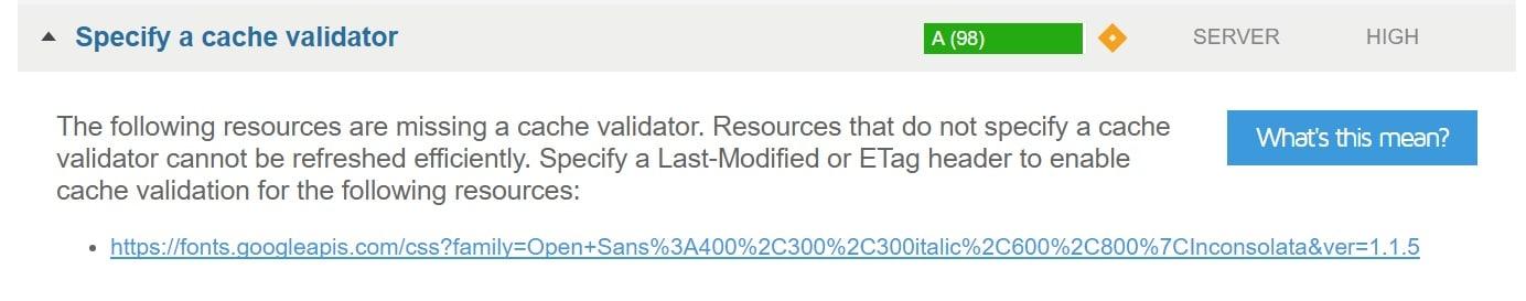 Especifique um validador de cache