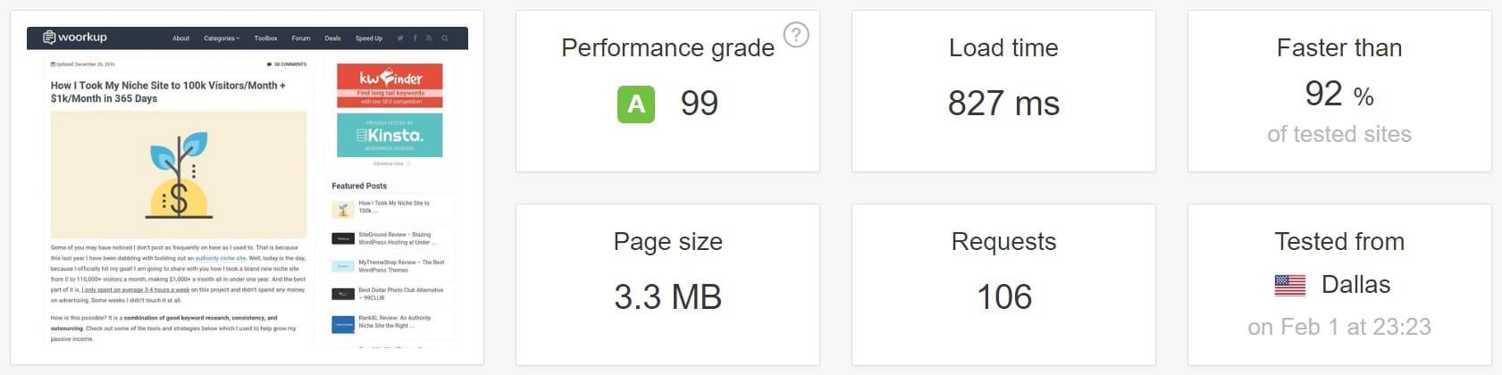Teste de velocidade com comentários nativos do WordPress