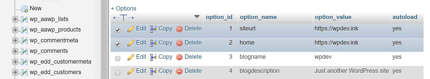 linhas siteurl e home na base de dados WordPress
