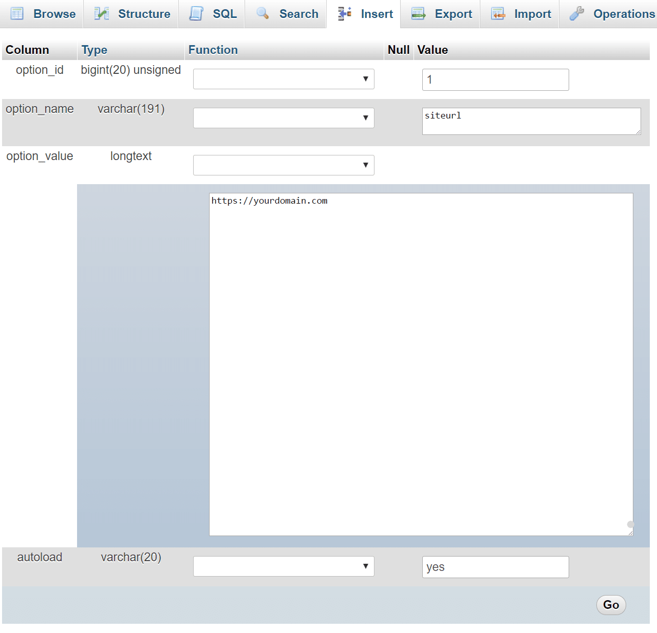 Editar o valor do siteurl
