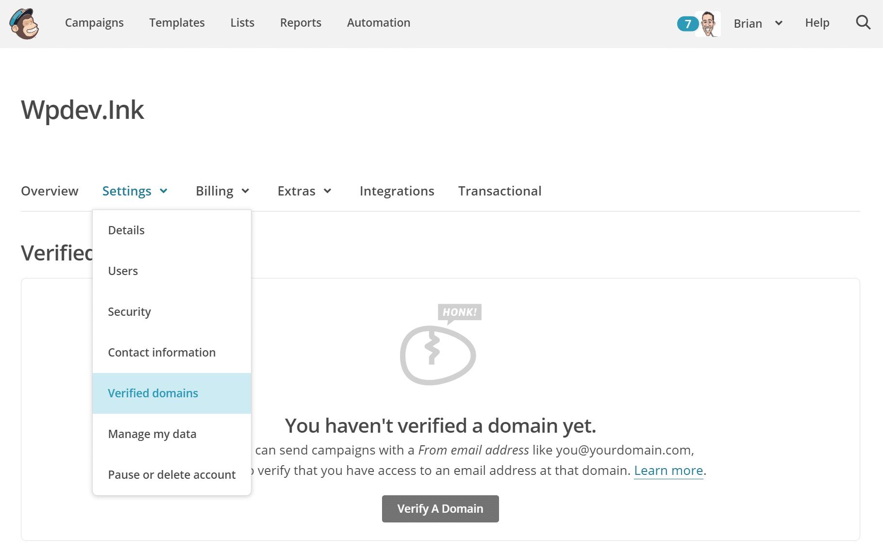 MailChimp domínios verificados