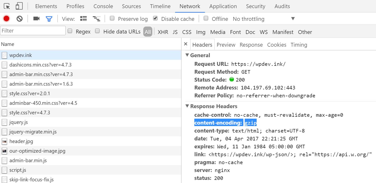 Cabeçalho de resposta HTTP content-encoding: gzip
